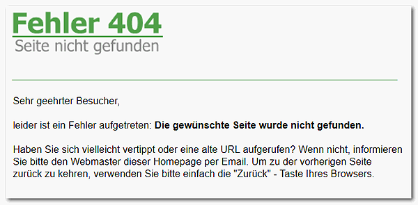 Screenshot eines  404 Serverfehlers bei Domainfactory