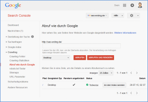 "Screenshot der Funktion ""Abruf wie durch Google"" in der Google Search Console"